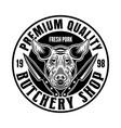 butchery shop round emblem badge label or vector image