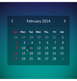 Calendar page for February 2014 vector image