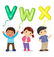 cartoon kids holding letter vwx shaped balloons vector image vector image