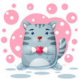 cat kitty character love vector image vector image