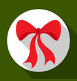 christmas red bow icon on green background with vector image vector image