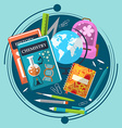 Composition on the theme of school with books vector image vector image