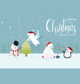 cute funny christmas charactor snowman and vector image