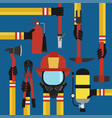 fire fighting modern design concept flat set vector image