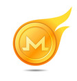 flaming monero coin symbol icon sign emblem vector image vector image