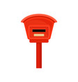 flat icon of small mailbox on pole red vector image vector image
