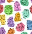 funny seamless pattern sketch zodiac signs vector image