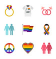 gays and lesbians icons set flat style vector image vector image