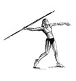 Hand sketch athlete throwing a javelin vector image