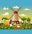 happy animal in the farm area vector image