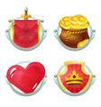 icon set with heart knight flag and shield vector image