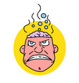 man with steaming brain vector image vector image