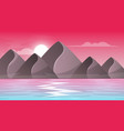 mountain sea - cartoon landscape vector image vector image