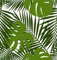 Palm leaf and monstera silhouettes seamless vector image vector image