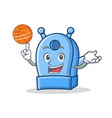 playing basketball pencil sharpener character vector image