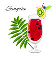 sangria fruit cocktail isolated on white vector image