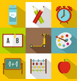 schooling icon set flat style vector image vector image