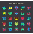 set of 8-bit color space monsters vector image