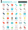 set of flat sport fitness icons vector image vector image