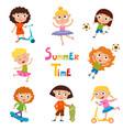 set of summer childs outdoor activities vector image vector image