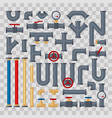 set tubes and pipelines pats on transparent vector image vector image