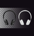 set wireless black and white headphones vector image