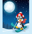 snowboarding penguin cartoon in the winter night b vector image