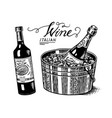 sparkling wine champagne alcoholic drink glass vector image vector image