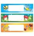 Spring banners with funny insects vector image