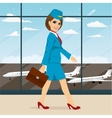 stewardess with briefcase walking vector image
