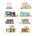 supermarket building set vector image vector image