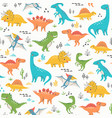 surface pattern cute dinosaurs vector image vector image