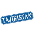 tajikistan blue square grunge retro style sign vector image vector image