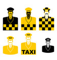 taxi driver icon set cabbie sign cabdriver symbol vector image