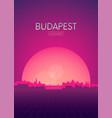 travel poster futuristic retro skyline budapest vector image vector image