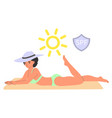 woman sunbathing safely using sunscreen flat vector image vector image