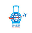 world travel logo design with travel bag and vector image vector image