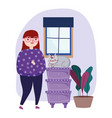 young woman with cat in furniture drawers plant vector image