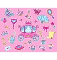 Cute princess sticker set with carriage vector image