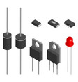 set of different diodes in 3d vector image