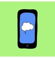 Doodle style phone with speech bubble vector image