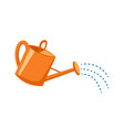 orange plastic watering can with water vector image