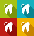 icons of human tooth with shadows in modern flat vector image