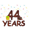 44 years greeting cards with gift box vector image vector image