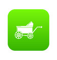 baby carriage ancient icon green vector image vector image