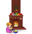 baby girl open gift near decorated christmas fire vector image vector image