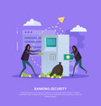 banking security flat background vector image vector image