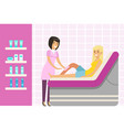 beautician waxing woman leg at spa or beauty salon vector image