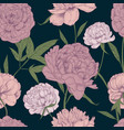 beautiful detailed peonies seamless pattern hand vector image vector image
