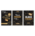 black friday sale ads banner gold and color vector image